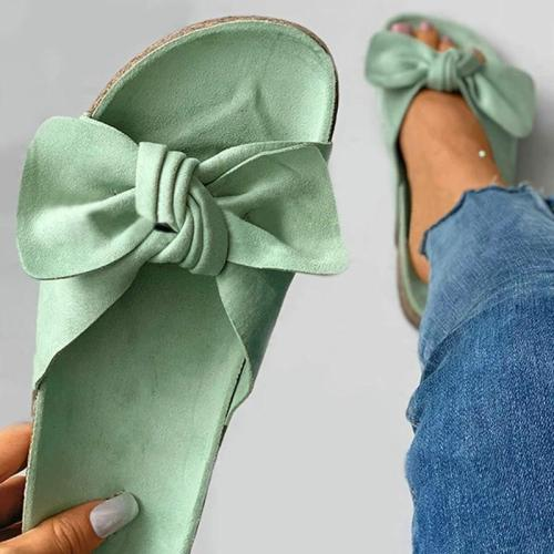 Women Casual Simple Shearling Bowknot Flat Sandals Slippers
