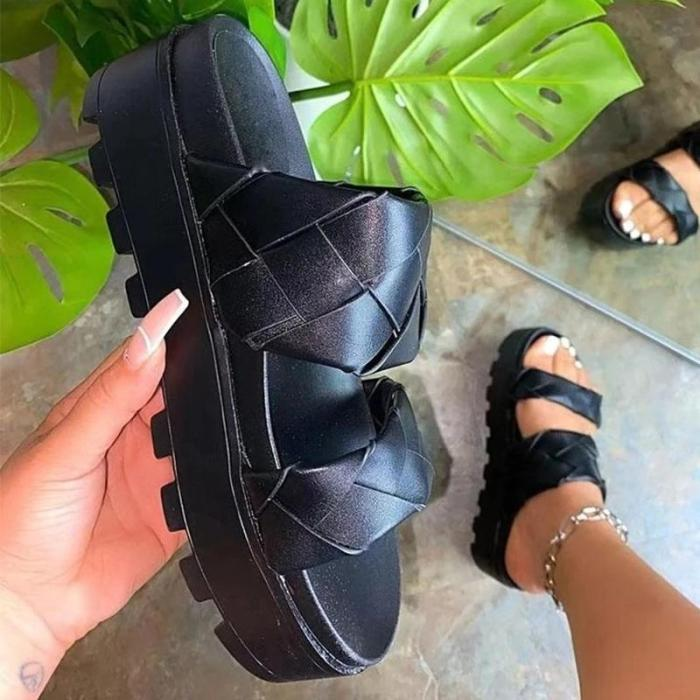 Women Round Toe Woven Daily Casual Slippers