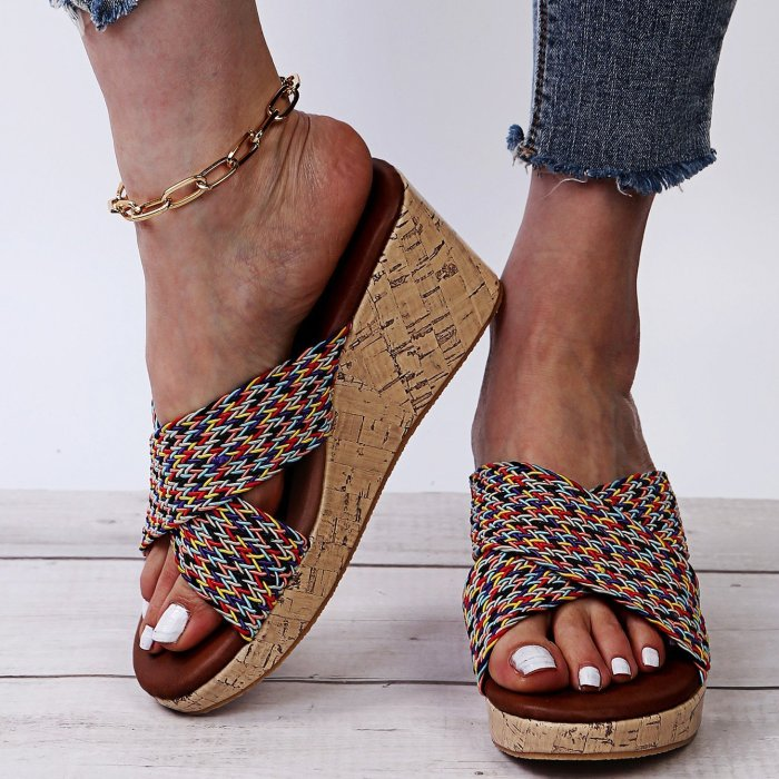 Ladies Jean Wedge Sandals