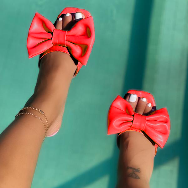 Simple Lovely Bow Flat Slippers
