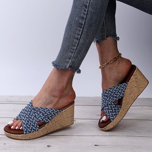 Ladies Jean Wedge Sandals