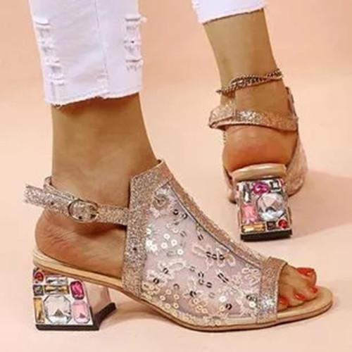 Women's Buckle Slingbacks Fabric Chunky Heel Sandals