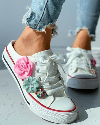 Floral Pattern Studded Eyelet Lace-up Skate Shoes
