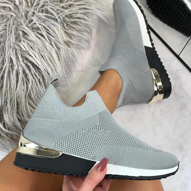 Women Casual Athletic Flyknit Fabric Slip On Sneakers