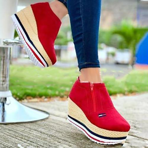 Casual Fashion Canvas Color Matching Platform Loafers