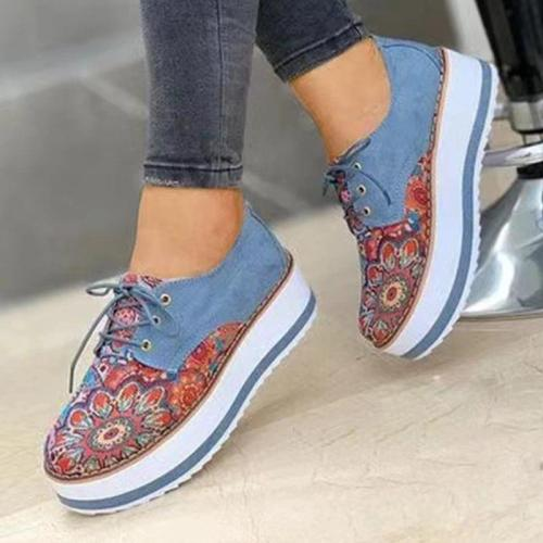 Women Casual Fashion Pu Floral Embroidery Lace-up Platform Loafers