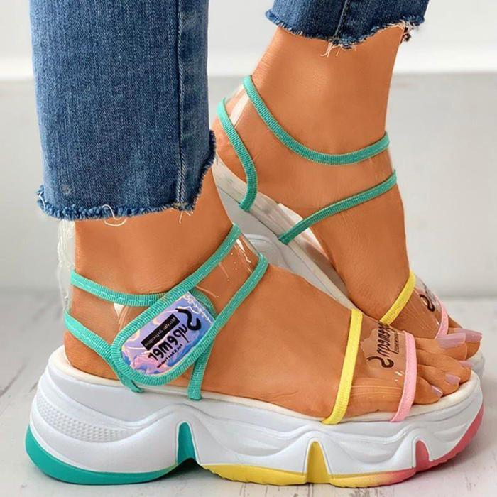 Colorblock Letter Print Muffin Sandals
