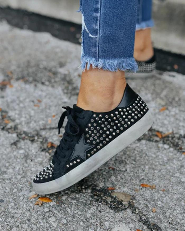 Faux Suede Studded Star Sneakers