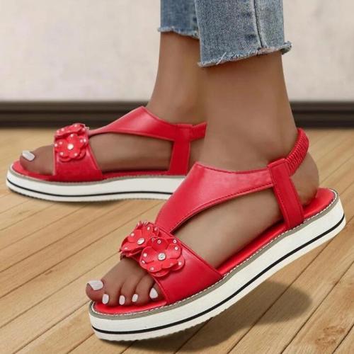 Women Casual Comfy Pu Flower Adornment Rhinestone Elastic Band Flat Sandals