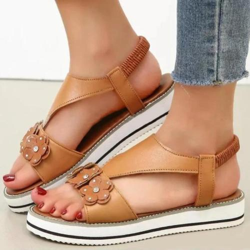 Women Casual Comfy Pu Flower Adornment Rhinestone Elastic Band Flat Sandals