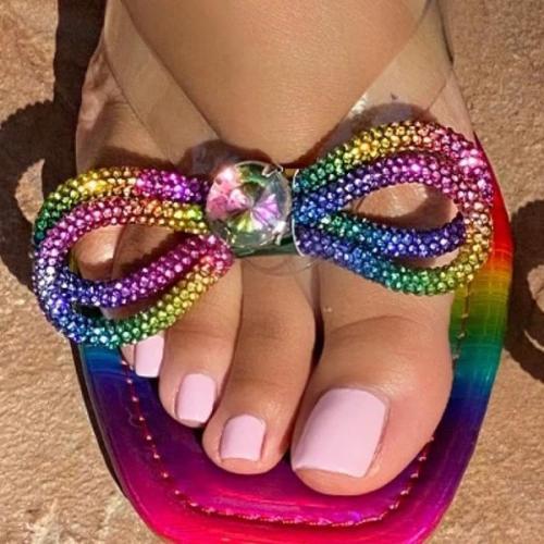 Diamond Dazzle Bow Flat Slippers