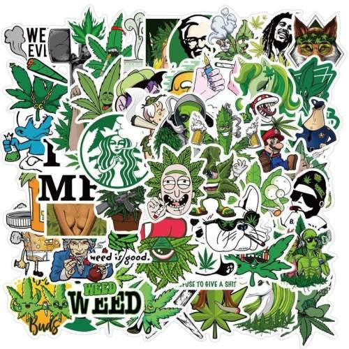50 Pack Waterproof Marijuana Stickers, Cannabis Sticker, Go Green Stickers, 420 Stickers, All Cut Stickers, No Repeats, Funny Marijuana