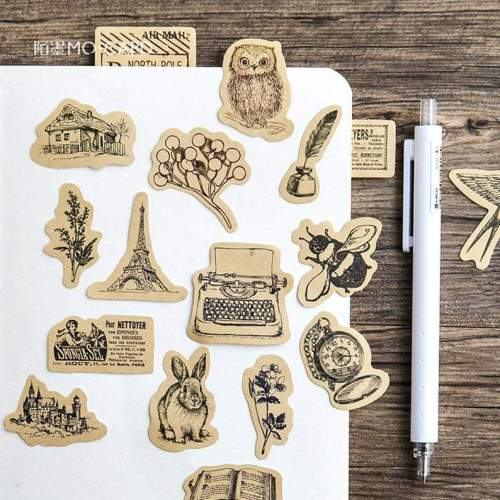 46pcs Vintage sticker pack, Journaling,Planner,bullet journal,Diary Stickers, Japan stickers