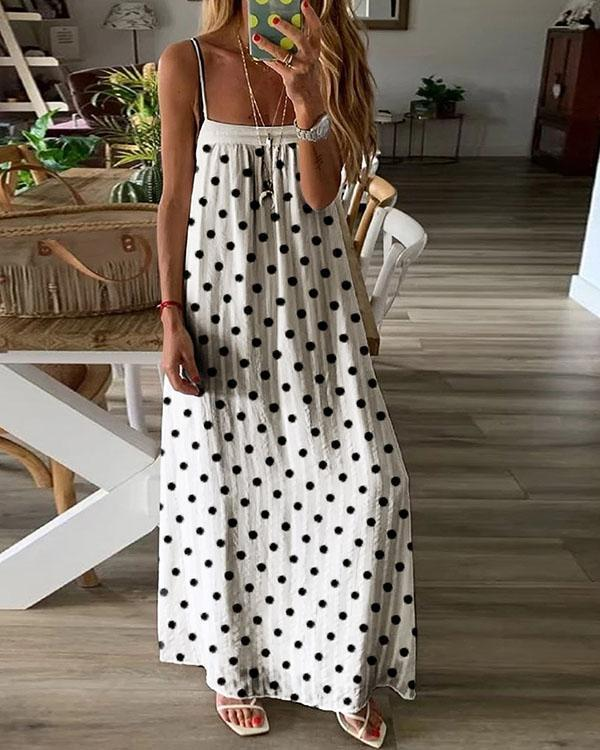 Fashion Polka Dot Ladies Pullover Casual Loose Sling Dress