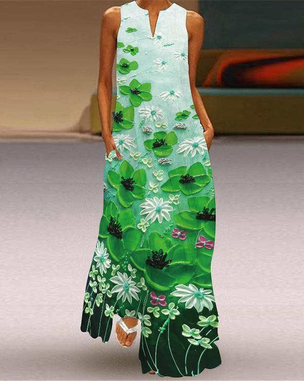 Women Western Style Sleeveless Pockets Printed Long Dress