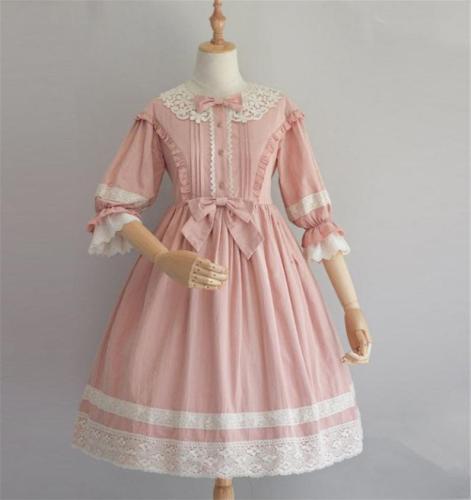 Pink / Blue Lolita Dress, Ruffle Half-Sleeve Lace Dress, Classic Princess Dress,Party Dress