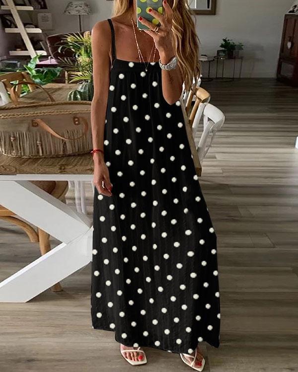 Fashion Polka Dot Ladies Pullover Casual Loose Sling Dress