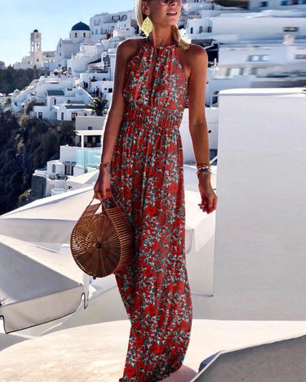 Printing Sleeveless Halter Neck Bohemian Vacation Dress