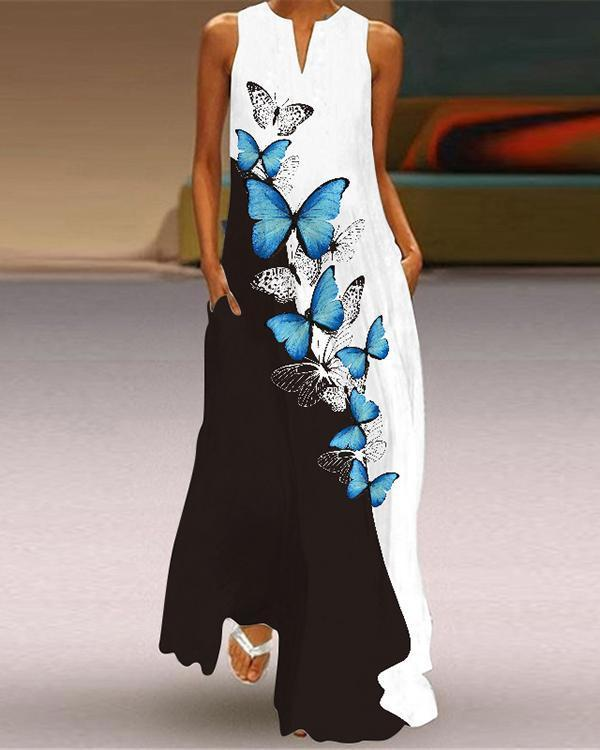Women's Sleeveless Long Dress V-Neck Print Dress