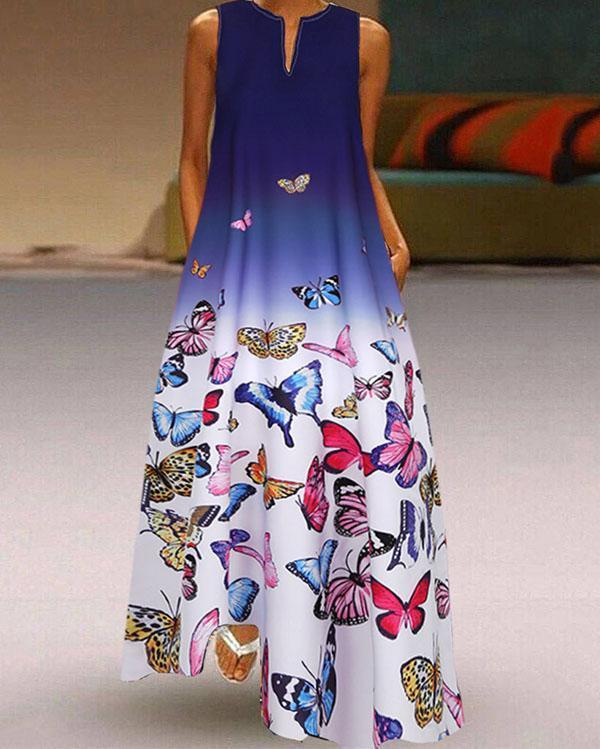 Butterfly Printed Ombre Patchwork V-neck Maxi Dress