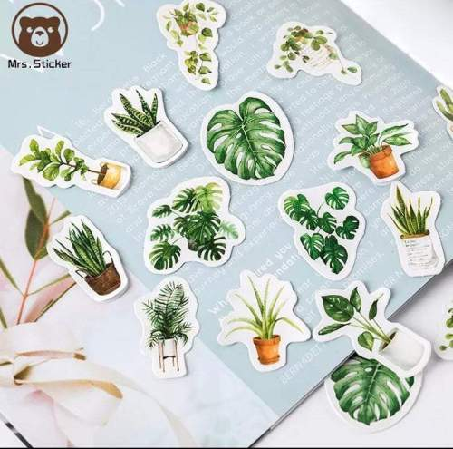 Potted Plants Sticker Pack, Green Leaf Stickers, Ferns and Succulents, Sticker Flakes, BuJo Sticker Pack