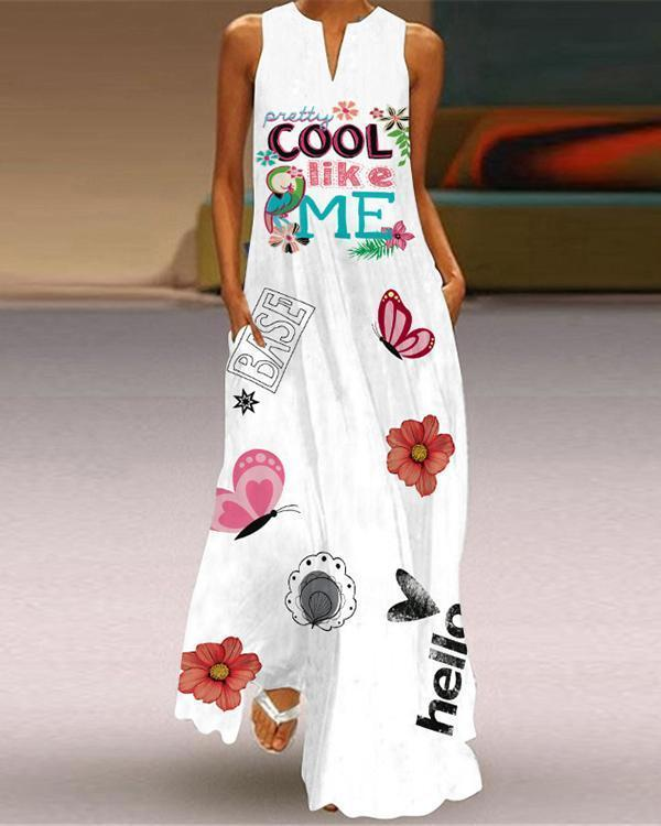 Printed Women Sleeveless Summer Pockets V-neck Dress