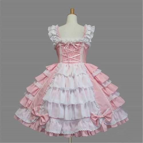 Classic Lolita Dress, Vintage Lace Bow Layered Ruffled Sleeveless Dress, Lolita Cosplay JSK Dress For Women
