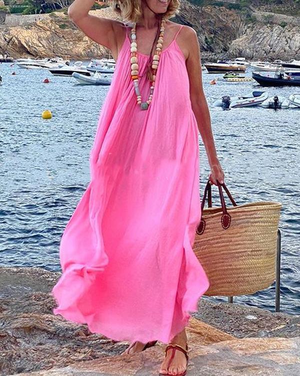 Pink Flowy Sling Big Hem Summer Vacation Dress