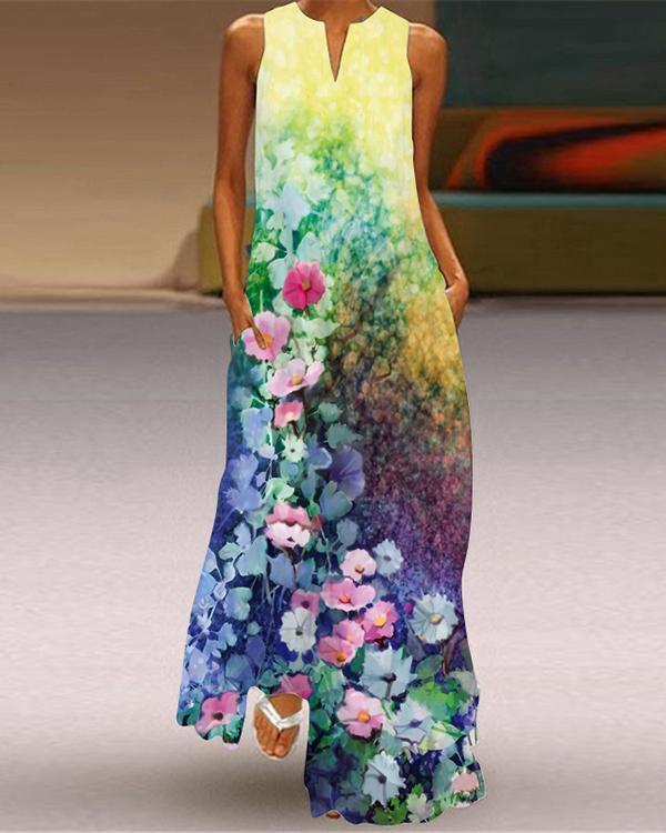 Western Style Sleeveless Pockets Printed Long Dress