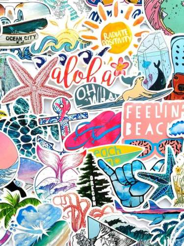 Custom summer Beach, Ocean themed stickers, Travel theme, Water Bottle Stickers for Laptop Skateboard Car Decals No-Duplicates (50pcs!)