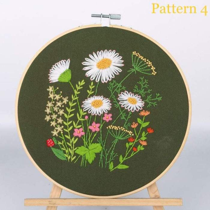 Embroidery Kit For Beginner  Modern Embroidery Kit with Pattern  Embroidery Hoop Plants  Craft Materials Included   Full DIY KIT Dandelion