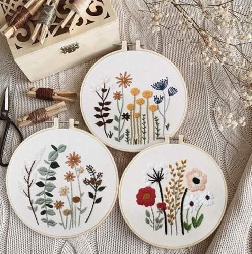Diy embroidery kit beginner- Modern Floral Pattern - Hand Embroidery Full Kit - DIY Flower Embroidery Hoop Wall Art Kit -English Guide