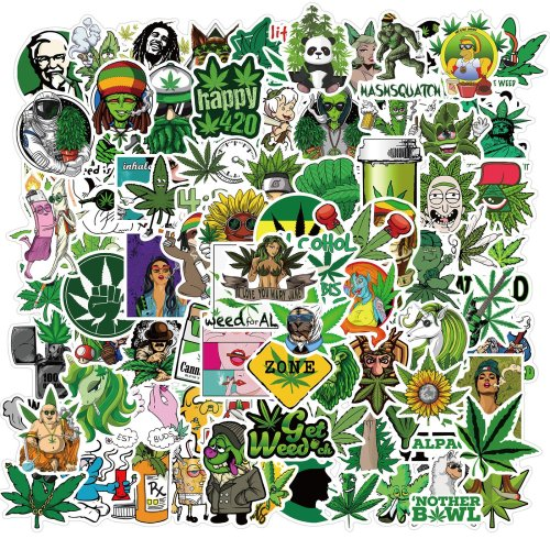 100pcs Character Weed Leaf Stickers