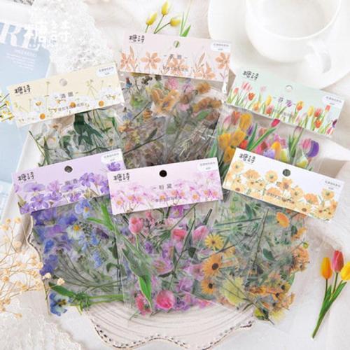 40pcs vinyl Flower stickers pack, Journaling,Planner,bullet journal,Diary Sticker, vinyl stickers