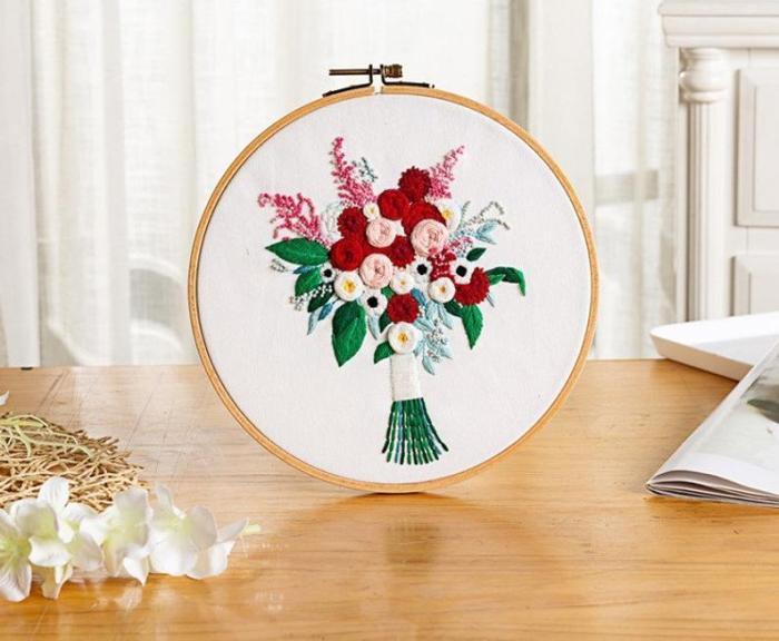 Floral Beginner Embroidery Kit - Modern Flower Plant Hand Embroidery Full Kit - DIY Floral Needlepoint Hoop Wall Art Kit