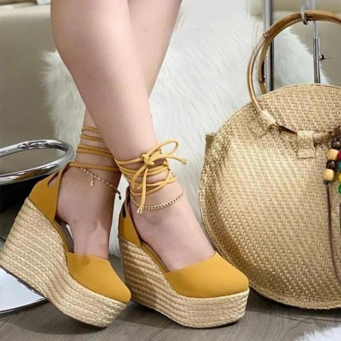 Women's Fashion Lace-Up Wedge Shoes