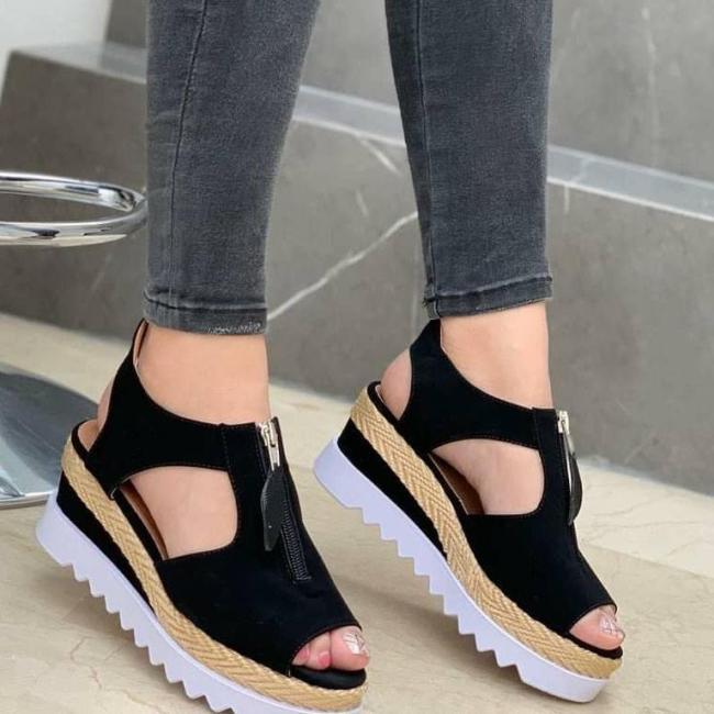 Women's Comfy Faux Suede Peep-toe Wedge Sandals