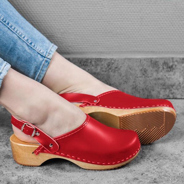 Faux Leather Clogs Strap Buckle Wooden Sole Sandals