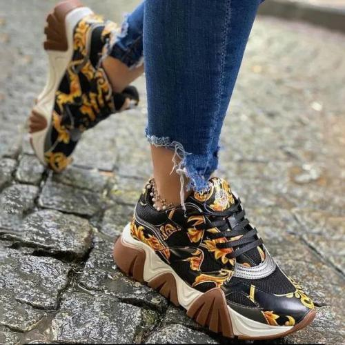 Women's Fashion Baroque Pattern Platform Sneakers