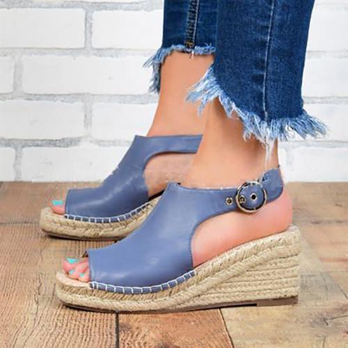 Women Buckle Wedge Sandals