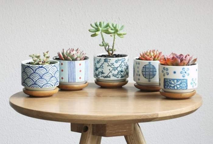 Japanese Style Ceramic Planters with Bamboo Tray,Succulent Planter,Ceramic Planter,Home Decor,Simple Gift,gift idea, terrarium