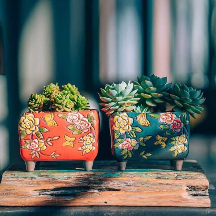 Beautiful Flower Style Ceramic Planter,Succulent Planter,Ceramic Planter,Home Decor,Simple Gift,gift idea, Office Decor, Pot