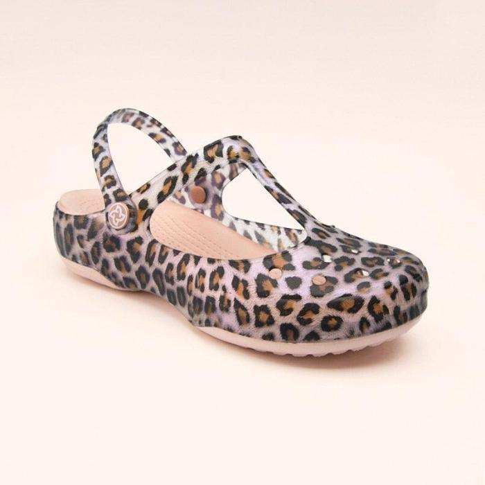 Women's Leopard Print Hollow Sandals And Slippers