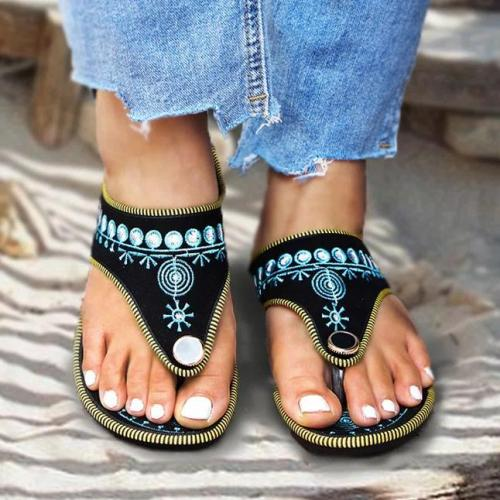 Women's Plus Size Retro Handmade Embroidery Mules