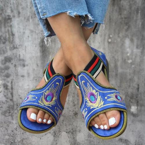 Women's Large Sizes Hollow Out Fish Mouth Embroidery Sandal