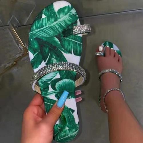 Women Casual Fashion Pu Rhinestone Print Toe Loop Flat Sandals
