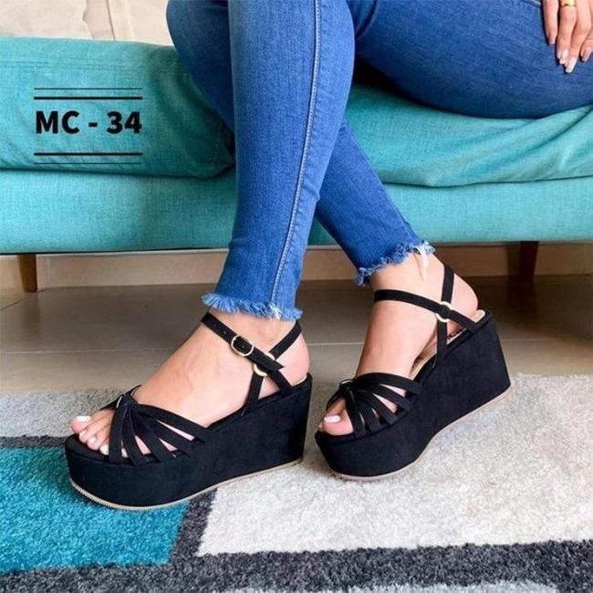 Ladies Fashion Buckle Wedge Round Toe Sandals