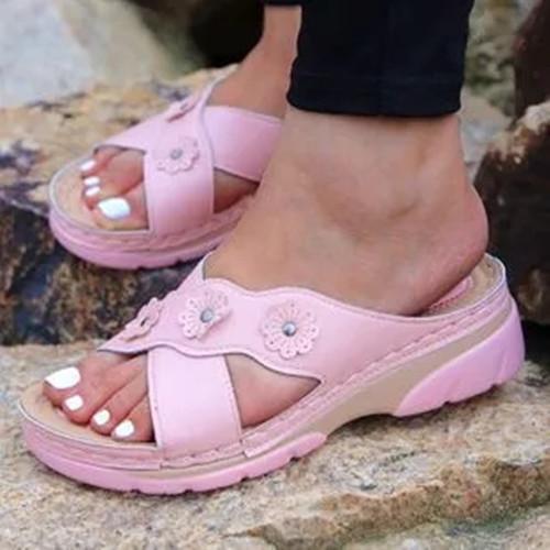 Women's Flower Slingbacks Low Heel Slippers