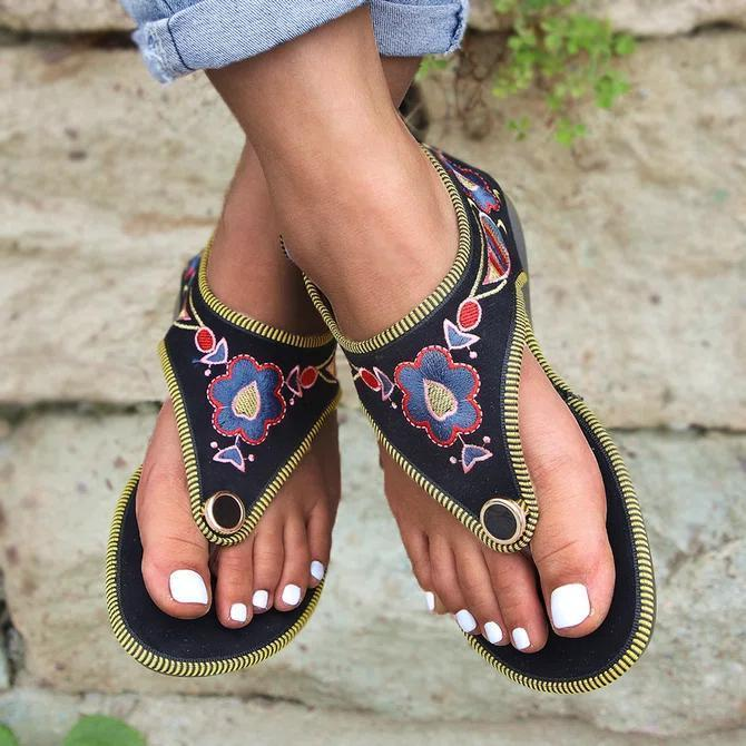 Summer Daily Embroidery Sandal