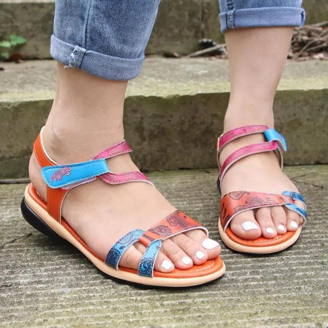 Women's Fashion Velcro Colorblock Printed Sandals